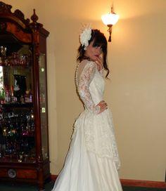 Its Love Love Love-Stunning Vintage Antique 1940s Silk Lace Rhinestone edged 5 ft. Train Wedding Gown