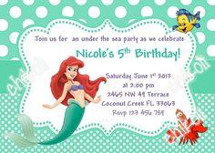 The Little Mermaid Invitation Ariel Disney Princess Kids Birthday Party Invite Invitat In 2019