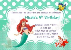 Little Mermaid party invitations- Ariel Birthday Party Invitation