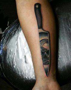 Chef Knife Tattoo by Daniel Ujszaszi