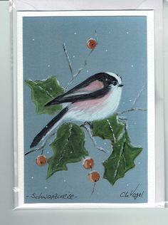 Grüße - Grußkarte - Schwanzmeise mit Ilex - ein Designerstück von Vogelmalerin…