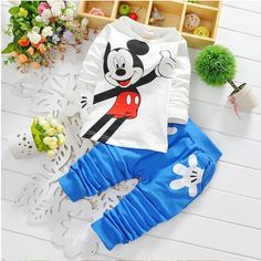 New Born Baby Set Minnie Mickey Baby Outfit Boy Girl Clothing Baby Suit Infant Boy Clothing Shirt And Pants #Affiliate