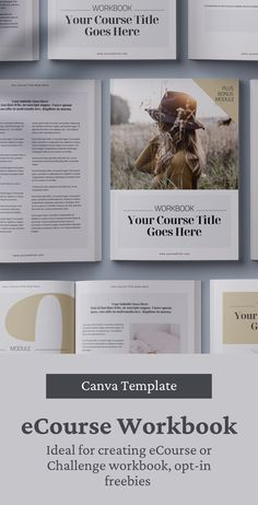 35-page eCourse Workbook Creator Canva template to create a great addition to your training, Course, or Webinar. It can also be used to develop lead magnets / opt-in freebies for your online business. Template is fully editable and available in Canva format, A4 (210x297mm) and US Letter (8.5x11 inches) sizes #workbooktemplate #canvatemplate #leadmagnet #canva #freebietemplate #canvaworkbook #coursetemplate #brochuretemplate Travel Brochure Template, Brochure Design, Indesign Templates, Print Templates, Graphic Design Books, Book Design, Online Presentation, Design Portfolios, Magazine Template