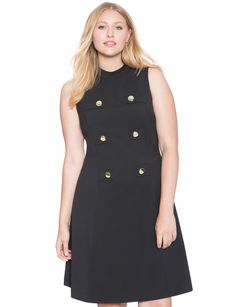 Fit and Flare Military Dress | Women's Plus Size Tops | ELOQUII
