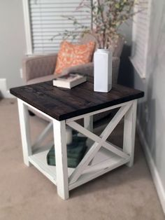 Farmhouse End Table Two Toned by TheChicNShabbyBean on Etsy