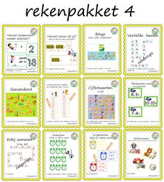 Rekenen voor groep 3. Allemaal leuke rekenspelletjes zoals turven, geldsommen, klokkijken, rekenrups etc. Music For Kids, Spelling, Bullet Journal, Coding, Teacher, Education, Math, Game Ideas, Infographic