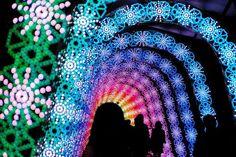 Nabana no Sato Mie (なばなの里)Kawazu Sakura Botanical Gardens Winter Light TunnelKuwana-shi, Nagashima-chō, Mie-ken, Nabana No Sato, Winter Light Festival, Festival Lights, Champs, Reverse Graffiti, Light Tunnel, Sea Of Japan, Shimmer Lights, Holiday Lights