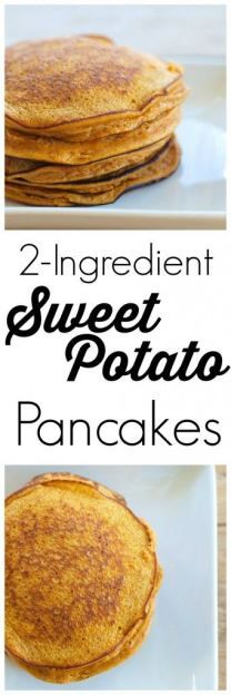 These 2 Ingredient (really!) Sweet Potato Pancakes are so easy and are a huge hit with the kids. Gluten-free, dairy-free, nut-free, soy-free, Paleo cup mashed sweet potato and 2 eggs Paleo Breakfast, Breakfast Recipes, Breakfast Ideas, Breakfast Casserole, Pancake Recipes, Breakfast Pancakes, Healthiest Breakfast, Clean Breakfast, Pancakes Easy