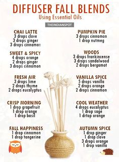 *crisp weather* Autumn is a beautiful time! The changing colours of leaves and shedding, grounds filled with colours of orange and yellow, breath of crisp air, everything se.Diffuser Fall Blends Using Essential OilsOur Natural Skin Health Guide is he Fall Essential Oils, Essential Oil Diffuser Blends, Essential Oil Uses, Diy Diffuser Oil, Homemade Reed Diffuser, Humidifier Essential Oils, Aroma Diffuser, Diffuser Recipes, Aromatherapy Oils