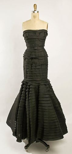 Silk dinner dress, Jacques Griffe, S/S 1951.