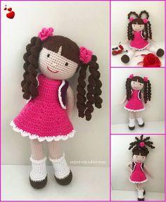 Pembe elbiseli bebek de diğer bebeklerimde olduğu gibi bukle saçlı. Tasarımı bir yabancıya ait, doğaçlaması bana ait olan bukle saçlı be...