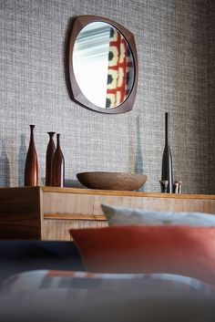Khadi wallpaper from Scion Plain Wallpaper, Home Id, Mid Century Modern Living Room, Contemporary Wallpaper, Komodo, Dining Room Design, Wabi Sabi, Textured Walls, Designer Wallpaper