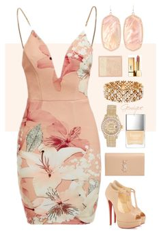 """""""Just Peachy"""" by gemique ❤ liked on Polyvore featuring Ginger Fizz, Christian Louboutin, Kendra Scott, Blue Nile, Rolex, Yves Saint Laurent, Paul & Joe and Butter London"""
