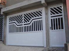 Modelos de portões de alumínio – Preços | Decorando Casas Gate Wall Design, Home Gate Design, Front Gate Design, Main Gate Design, Unique House Design, Single Floor House Design, Gate Designs Modern, Modern Entrance Door, Large Gazebo