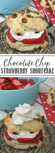 Chocolate Chip Strawberry Shortcakes – SO good and perfect for summer! Easy to m… Chocolate Chip Strawberry Shortcakes – SO good and perfect for summer! Easy to make for potlucks and BBQs! Mini Desserts, No Bake Desserts, Easy Desserts, Dessert Recipes, Summer Desserts, Summer Recipes, Yummy Treats, Sweet Treats, Yummy Food