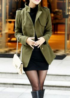 Green Lapel Coat