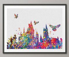 Hogwarts Harry Potter Multicolor Watercolor illustrations Art Print Wedding Gift Giclee Wall Decor Art Home Decor Wall Hanging No 101