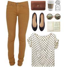 Cute polka dot shirt with tan pants and black flats :)
