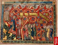 An illumination from a German festival prayer book for Shavuot, c.1322, by Joseph Kara, showing Moses receiving the Law, symbolised by two stone tablets; Aaron, portrayed as a Christian bishop rather than a Jewish priest; Israelite men wearing pointed hats; and Israelite women with non-human heads (Additional 22413 f.3). (British Library)