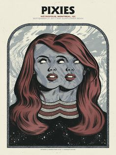 Limited edition Pixies gig poster design by Andrew Fairclough. Here at WE AND THE COLOR we love gig posters and this artwork designed by Andrew Fairclough Tour Posters, Band Posters, Pinup Posters, Gig Poster, Foo Fighters, Art Metallica, Cover Art, Musik Illustration, Pop Art