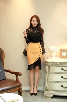 Romantic & Trendy Looks, StyleonmeKorean Women`s Fashion Shopping Mall, Styleonme.Ruffle High Neck Pearl Detail See-through Floral Lace Blouse Summer Dress Outfits, Skirt Outfits, Dress Skirt, Prom Dresses With Sleeves, Modest Dresses, Classy Outfits, Chic Outfits, Tango Dress, Korean Women