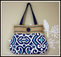 Blue Handbag / Jute Webbing by SweetPeaTotes on Etsy, $48.00