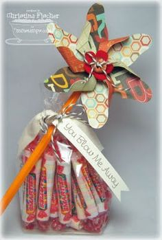 cute gift idea...but I would use Blow Pops or bubble gum instead of smarties..or change the tag