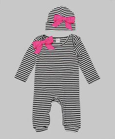 Look what I found on #zulily! Black & White Stripe Playsuit & Beanie - Infant by Truffles Ruffles #zulilyfinds