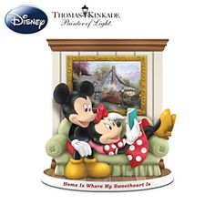 Handcrafted Thomas Kinkade Mickey and Minnie figurine with FREE Sweetheart Cottage full-color print.