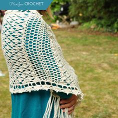 This fabulous lace shawl is versatile, perfect as an accent to any outfit and just the ticket for that little something to cover up with. The shawl is made of a soft cotton and acrylic mix that effortlessly drapes and is beautiful to work with. Comprising of 5 panels joined together this one is easier than it looks and such fun to make!  As featured in Simply Crochet Magazine! Yarn - Yeoman Panama 4ply Hook - 3.5mm/E Size - 48cm by 108cm (including fringe) Gauge - 15st and 10 rows &#x3D...