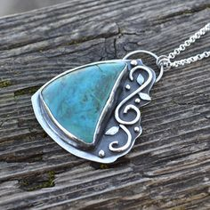 Chrysocolla and Sterling Silver Necklace by DelightfulbyDesign