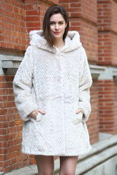 df79ee7b7b Winter Fabulous Silver Sheared Mink Faux Fur Coat with Hood