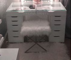 Vanity Table with Glass top . Vanity Table with Glass top . Slaystation Plus 2 0 Tabletop Vanity Mirror 5 Drawer Glass Vanity Table, Lighted Vanity Mirror, Glass Table, Vanity Mirrors, Vanity Tables, Makeup Tables, 5 Drawer Dresser, Dresser With Mirror, Mirror Drawers