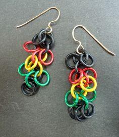 rasta earrings   Rasta Shaggy Loops Earrings   lanzacreations - Jewelry on ArtFire