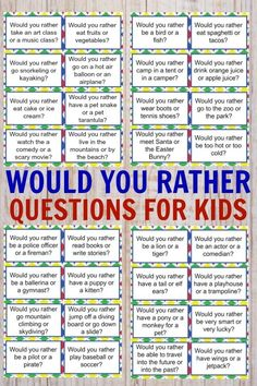 would you rather questions for kids ~ would you rather questions for kids . would you rather questions for kids fun . would you rather questions for kids hard . would you rather questions for kids free . would you rather questions for kids fall Toddler Activities, Learning Activities, Kids Learning, Road Trip Activities, Teaching Kids, Activities For 5 Year Olds, Nanny Activities, Social Emotional Activities, Circle Time Activities