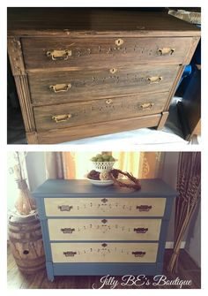 Antique Eastlake era dresser, chalk painted with Annie Sloan Aubusson blue, and with driftwood stained drawer faces.