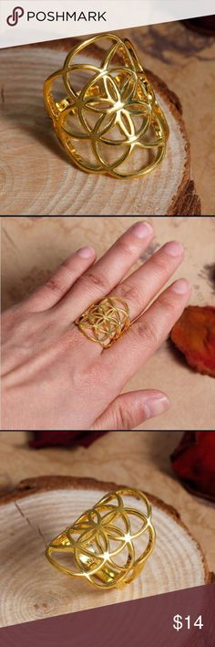 Trendy Seeds of Life Ring Gold Plated Seed of Life Ring! Metal: Cooper! Size 6.5, but adjustable (see picture 3) Jewelry Rings