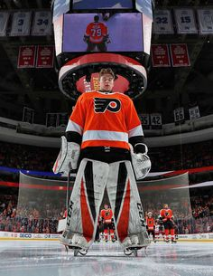 PHILADELPHIA, PA - DECEMBER 18: Carter Hart #79 of the Philadelphia Flyers stands for the National Anthem prior to making his NHL debut against the Detroit Red Wings on December 18, 2018 at the Wells Fargo Center in Philadelphia, Pennsylvania. The Flyers went on to defeat the Red Wings 3-2. (Photo by Len Redkoles/NHLI via Getty Images)