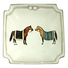 """This elegant serving bowl is part of our Devon dinnerware equestrian collection. It measures 10.5""""L x 10.5""""W x 3.5""""H.  Product in photo is from www.wellappointedhouse.com"""
