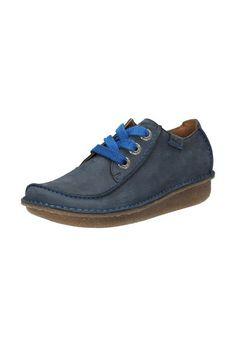 Pantofi bleumarin din piele nabuc cu siret Funny