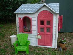 Cream, dark gray roof and pink door for girls!!!!