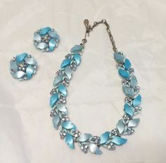 Vintage Signed Lisner Thermoset Blue Moonglow Rhinestone Necklace & Earrings…