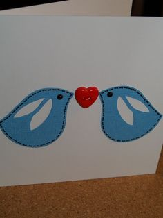Valentine Blue Birds card £1.25
