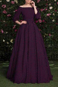 Slash Neck Polka Dot Maxi Dress