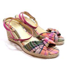 J.Crew Espadrille Wedge Heel Sandals Size 8 Pink Plaid Peep Toe Summer Shoe #JCrew #PlatformsWedges #Casual