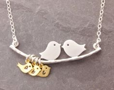 Bird Initial Necklace 1-9 kids handstamped jewelry by MegusAttic
