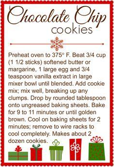 Chocolate Chip Cookies in a Jar Printable