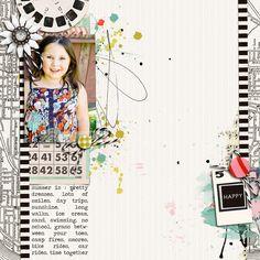 digital scrapbooking layout created by Jenn Barrette featuring melon sorbet by sahlin studio