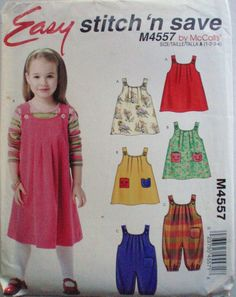 Toddler's Jumpers and Jumpsuit With Optional Snap Crotch - Stitch 'N Save McCall's 4557 Sewing Pattern - Sizes 1-2-3-4, Chest 20 - 23 by Shelleyville on Etsy