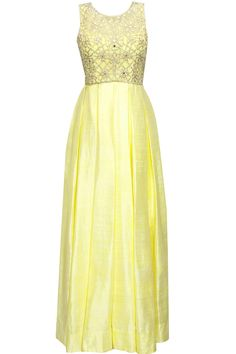 Lemon yellow pearl and mirror work anarkali set available only at Pernia's Pop-Up Shop.